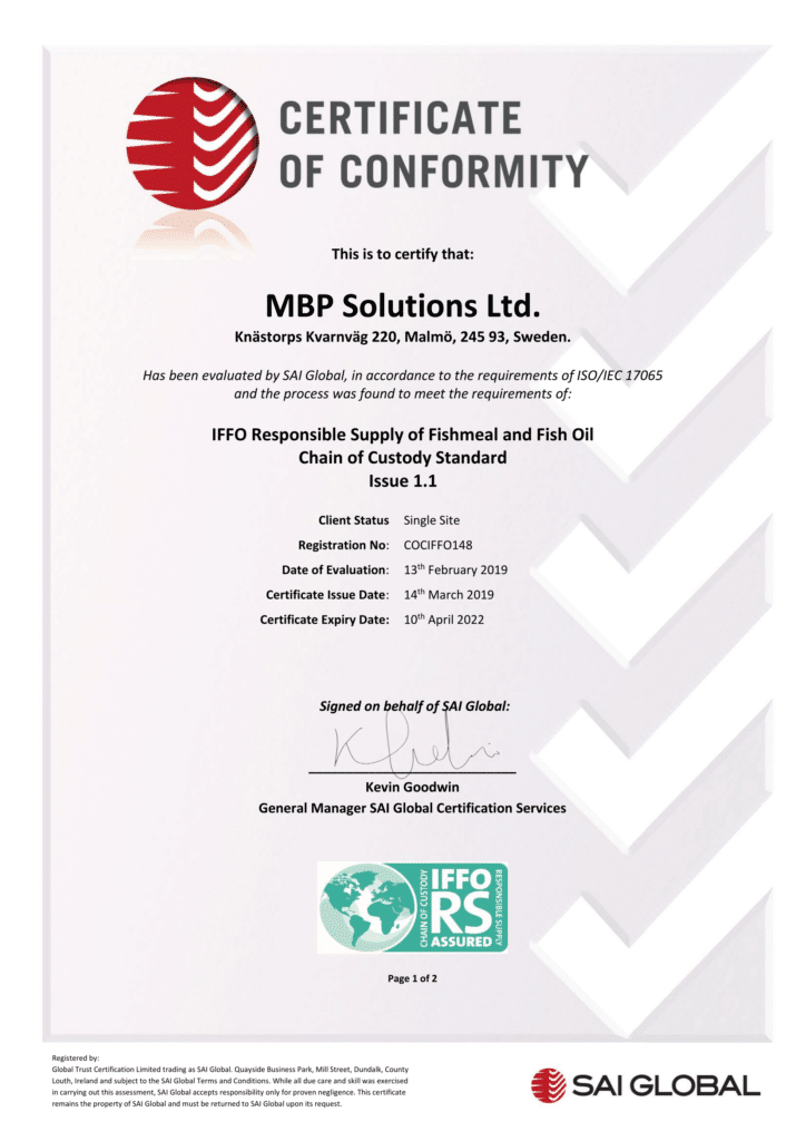 COC Certifications for MSC and IFFO-RS